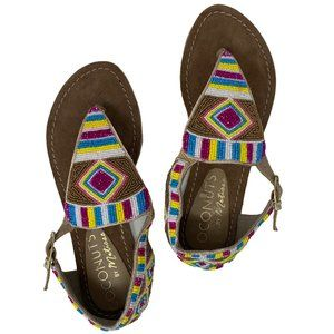 New Coconuts By Matisse Gulf Thong Beaded Boho Flat Sandals US Size 7